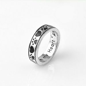 Jewelry - 🆕Silver Puppy Dog Paw Print Heart Engraved Ring